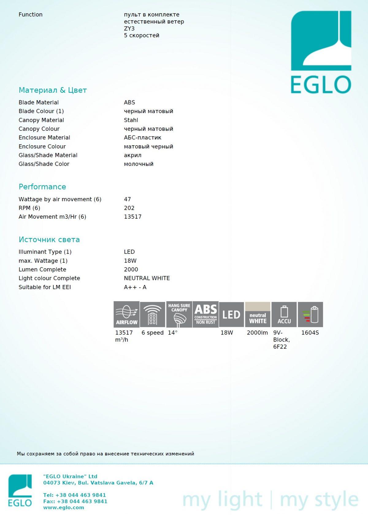 Люстра - вентилятор MOSTEIROS EGLO 35004 - Фото №32