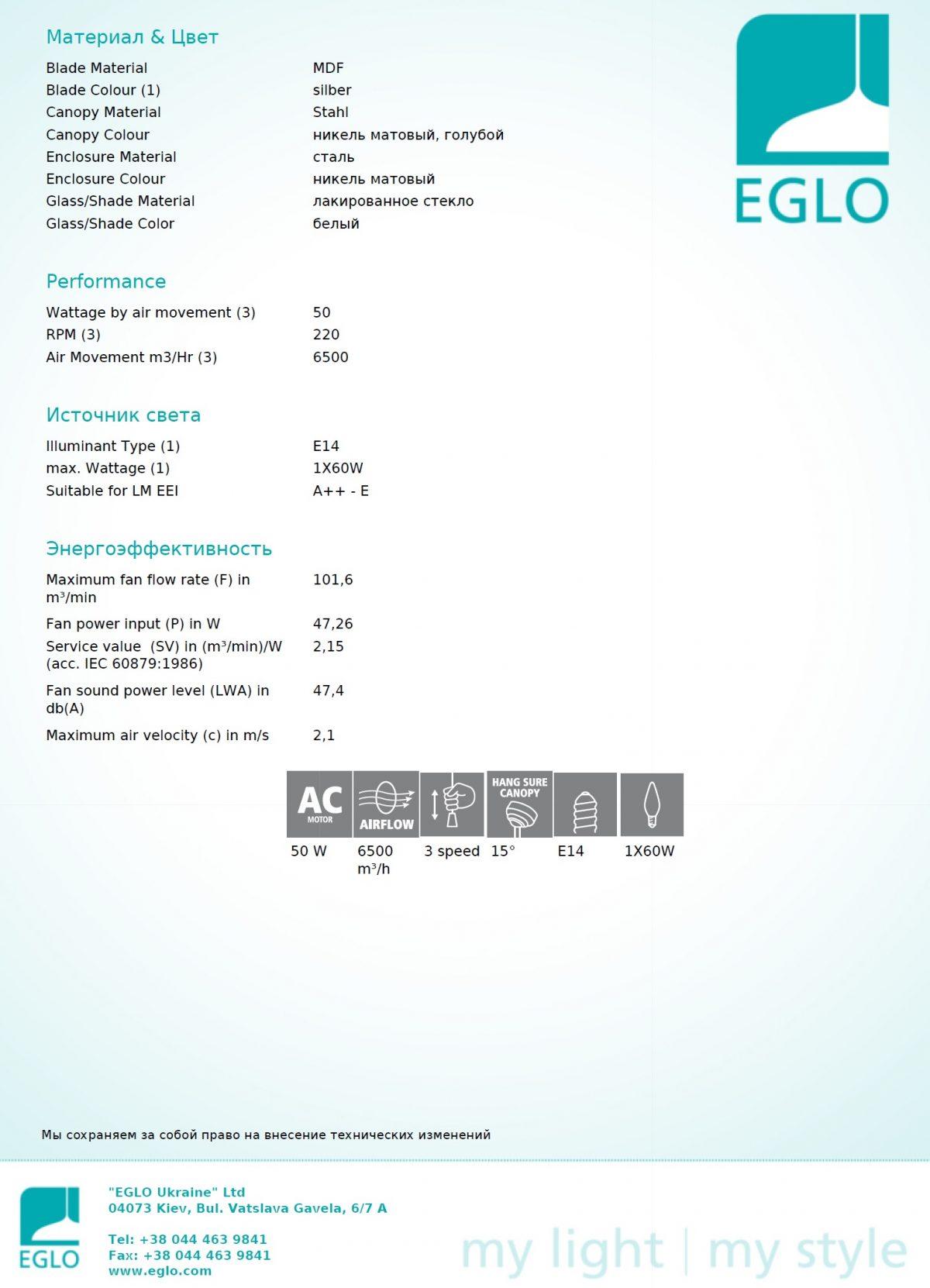 Люстра - вентилятор GELSINA EGLO 35041 - Фото №32